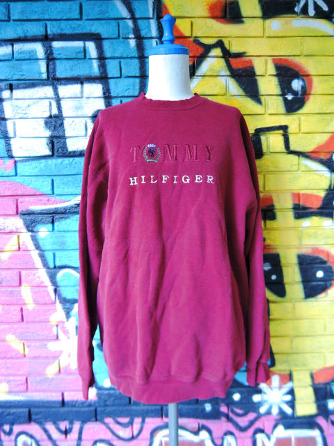 画像1: [USED]-90's【TOMMY HILFIGER-bootleg-】EMBROIDERY SWEAT-2