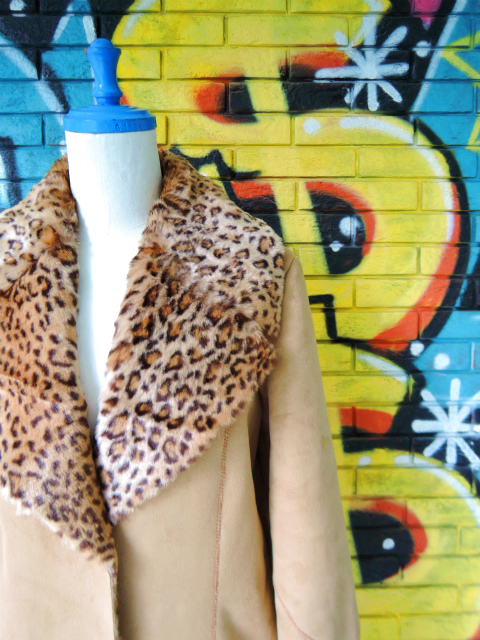 画像3: [USED]-90's【NEWPORT NEWS】LEOPARD DENIM BOA COAT