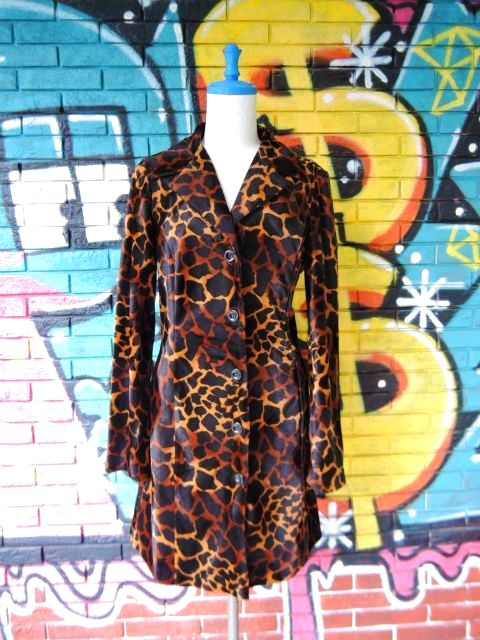 画像1: [USED]-90's【A.BYER CALIFORNIA】GIRAFFE ALL OVER DESIGN COAT