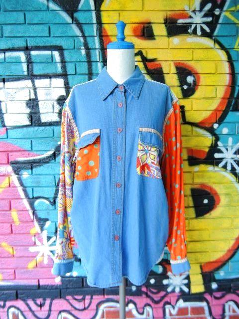 画像1: [USED]-90's【HYPE】ALL OVER×DOT DESIGN L/S-Shirts