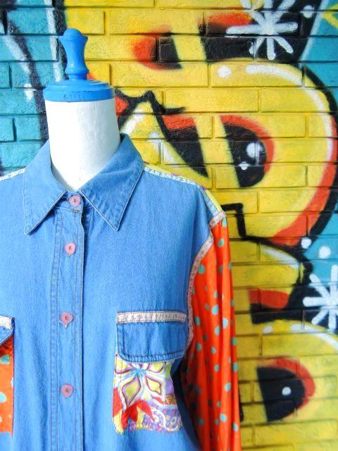 画像3: [USED]-90's【HYPE】ALL OVER×DOT DESIGN L/S-Shirts