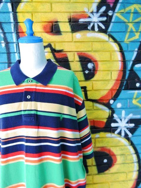 画像3: [USED]-90's【POLO by Ralph Lauren】BORDER DESIGN BIG POLO Shirts-GREEN
