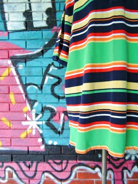 画像4: [USED]-90's【POLO by Ralph Lauren】BORDER DESIGN BIG POLO Shirts-GREEN