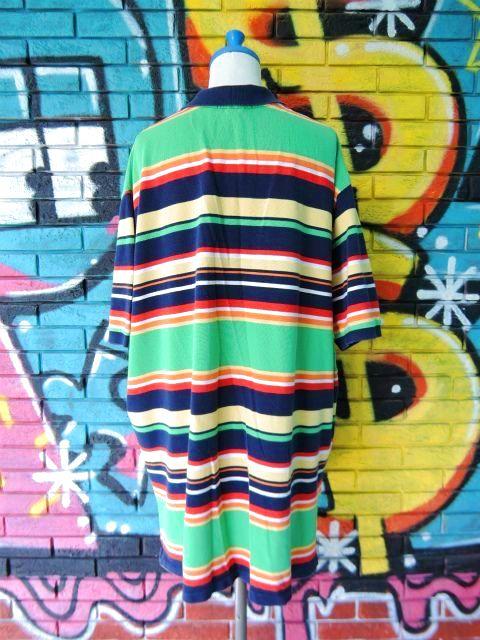 画像2: [USED]-90's【POLO by Ralph Lauren】BORDER DESIGN BIG POLO Shirts-GREEN