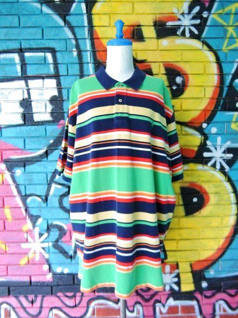 画像1: [USED]-90's【POLO by Ralph Lauren】BORDER DESIGN BIG POLO Shirts-GREEN