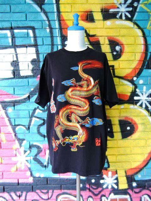 画像1: [USED]-90's【MICHAEL】DRAGON DESIGN PRINT S/S-Shirts
