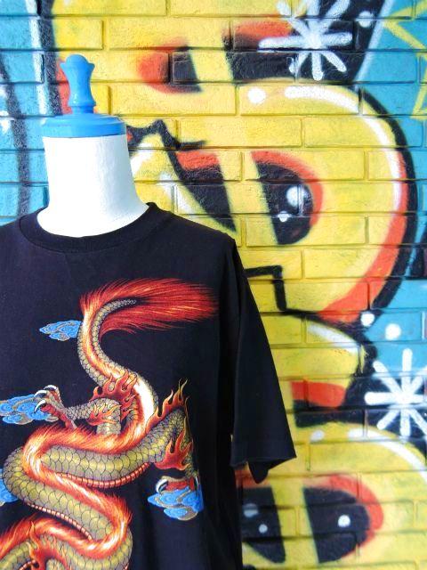 画像3: [USED]-90's【MICHAEL】DRAGON DESIGN PRINT S/S-Shirts