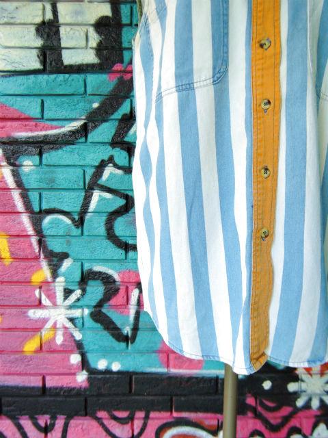 画像4: [USED]-90's【NO BARRIERS】STRIPE DESIGN N/S-Shirts