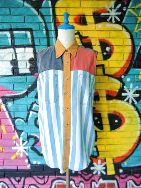 画像1: [USED]-90's【NO BARRIERS】STRIPE DESIGN N/S-Shirts