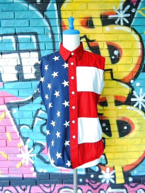 画像1: [USED]-90's【Natural Reflections】STAR&STRIPE DESIGN N/S-Shirts