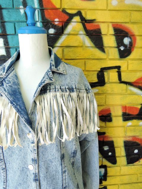 画像3: [USED]-80's【SPORT FEVER】FRINGE DESIGN STONE WASH DENIM JACKET