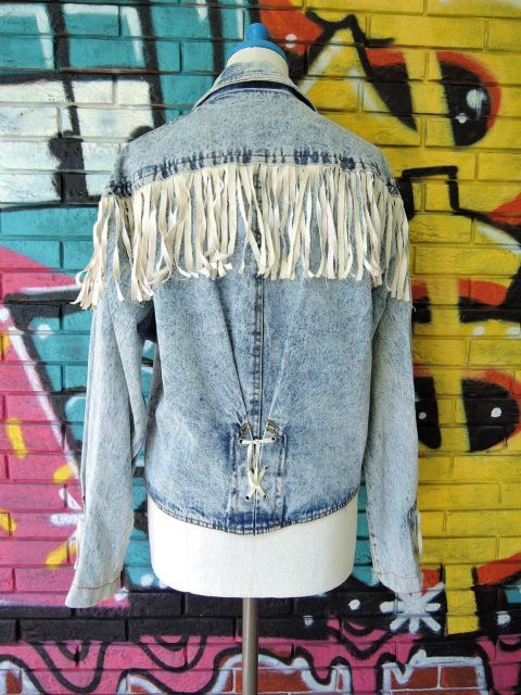画像2: [USED]-80's【SPORT FEVER】FRINGE DESIGN STONE WASH DENIM JACKET