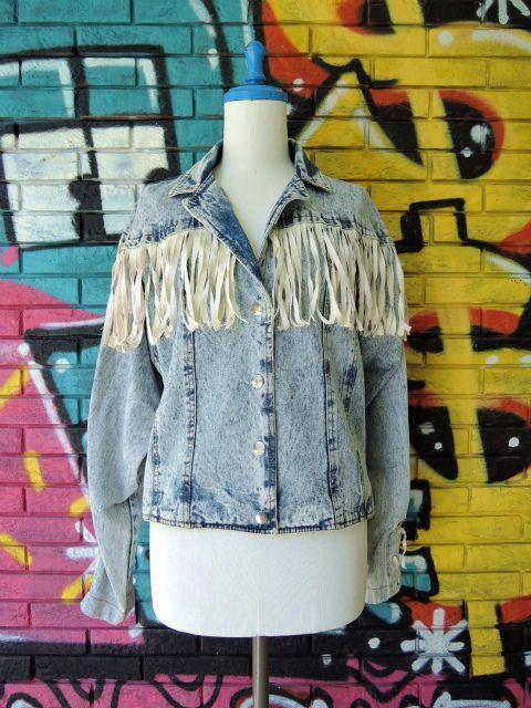 画像1: [USED]-80's【SPORT FEVER】FRINGE DESIGN STONE WASH DENIM JACKET