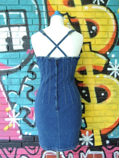 画像2: [USED]-80's【nada nuff】 LACE UP DESIGN DENIM ONE PIECE