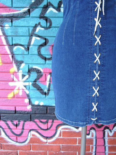 画像4: [USED]-80's【nada nuff】 LACE UP DESIGN DENIM ONE PIECE