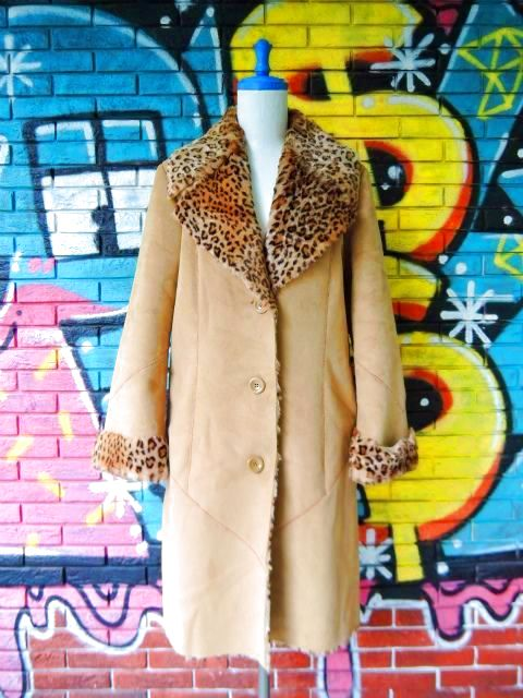 画像1: [USED]-90's【NEWPORT NEWS】LEOPARD DENIM BOA COAT