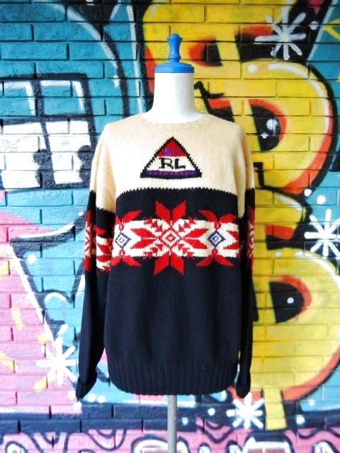 "画像1: [USED]-90's【Ralph Lauren】""'94 SNOW BEACH"" NORDIC SWEATER"