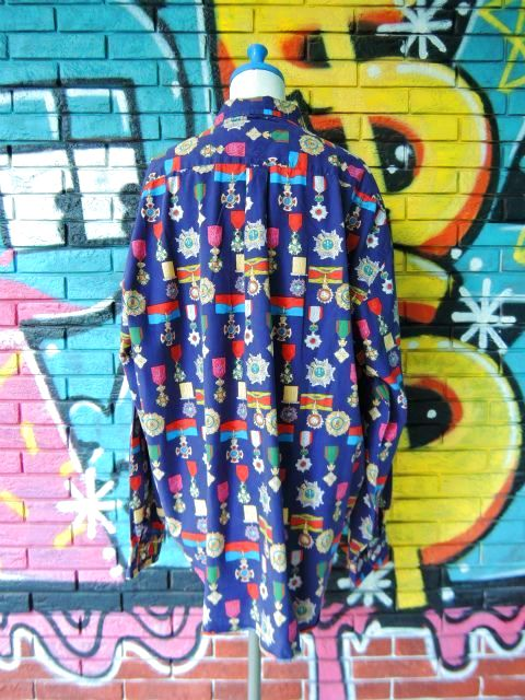 画像2: [USED]-90's【TOMMY HILFIGER】ALL OVER DESIGN L/S-Shierts-MEDAL