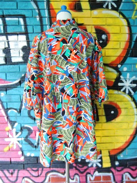 画像2: [USED]-90's【gottex】ALL OVER DESIGN S/S-Shirts