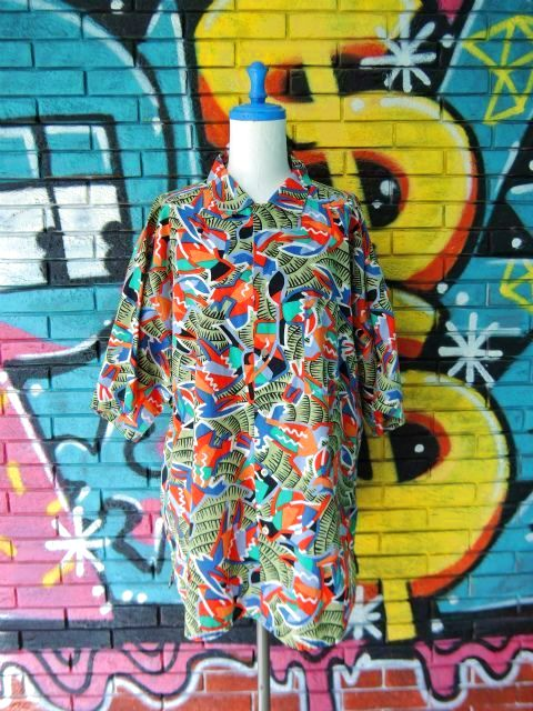 画像1: [USED]-90's【gottex】ALL OVER DESIGN S/S-Shirts