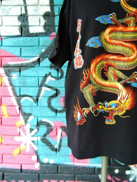 画像4: [USED]-90's【MICHAEL】DRAGON DESIGN PRINT S/S-Shirts