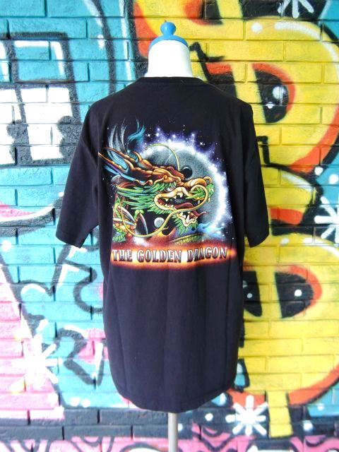 画像2: [USED]-90's【MICHAEL】DRAGON DESIGN PRINT S/S-Shirts