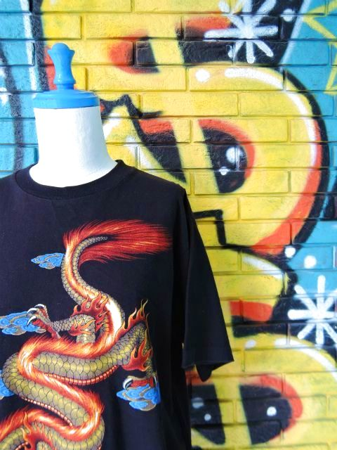 画像3: [USED]-90's【MICHAEL】DRAGON DESIGN PRINT S/S-Shirts