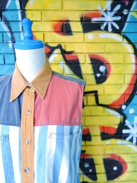 画像3: [USED]-90's【NO BARRIERS】STRIPE DESIGN N/S-Shirts