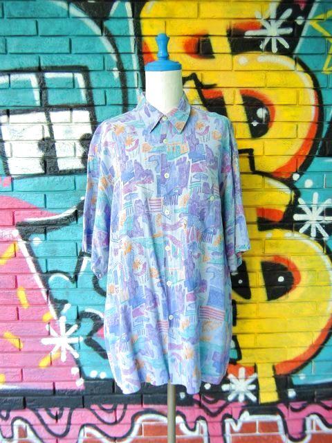画像1: [USED]-90s【Cartouche】ALL OVER DESIGN S/S-Shirts